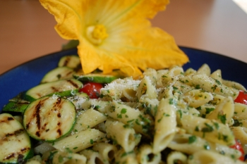 Simple courgette pasta with a few char-grilled slices on the side