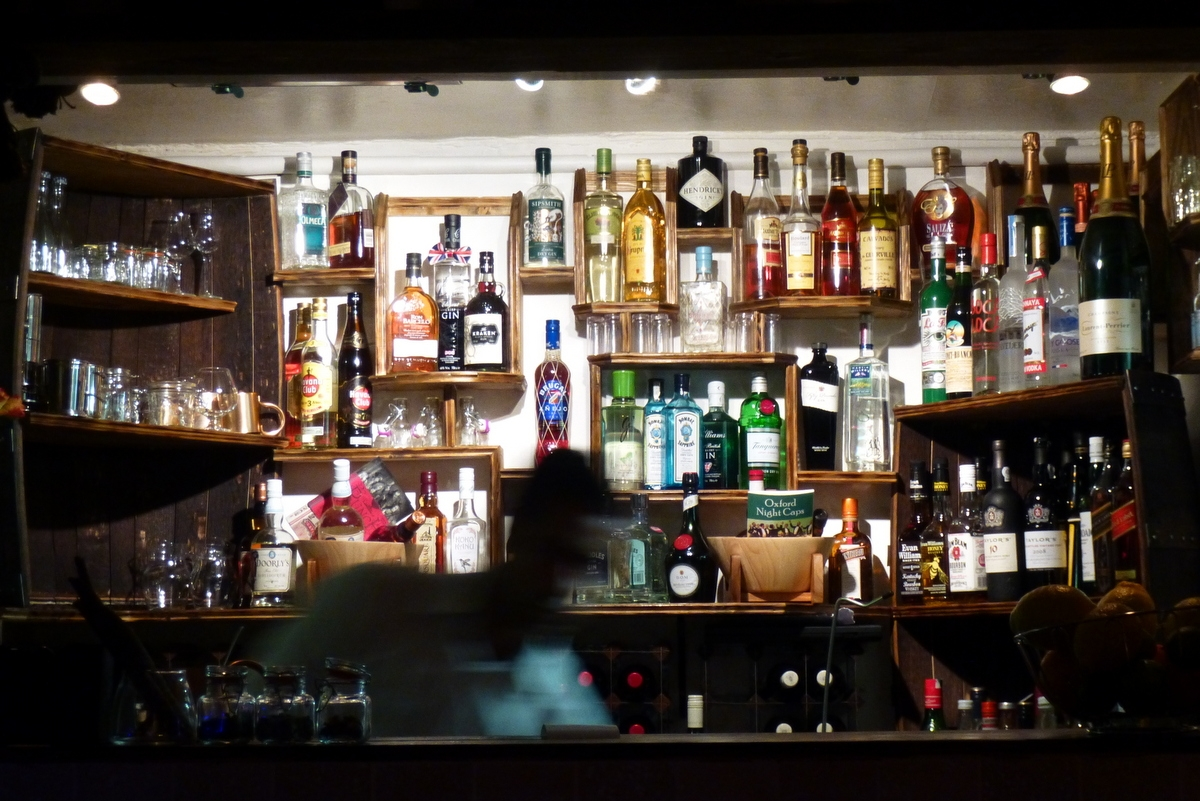The bar at the East India Cafe