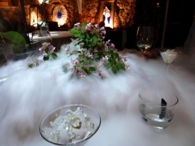 Dry ice works particularly well in the dark and cosy wine cellar